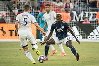FOXBOROUGH, MA - JULY 27:  Wilfried Zahibo #23 prepares to tackle Dillon Powers #5 at Gillette Stadium on July 27, 2019 in Foxborough, Massachusetts.