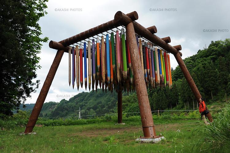 Matsudai is the center of Echigo-Tsumari Art Field where every three years a huge art festival is held. Around this area there a hundreds of pieces of art spread through the territory creating an amazing outdoor museum. Matsudai. Nigata. Japan.<br /> <br /> Matsudai est le centre du domaine artistique d'Echigo-Tsumari où se tient un grand festival d'art tous les trois ans. Autour de cette zone, des centaines d'œuvres d'art se sont répandues sur le territoire, créant ainsi un incroyable musée en plein air. Matsudai. Nigata. Japon.