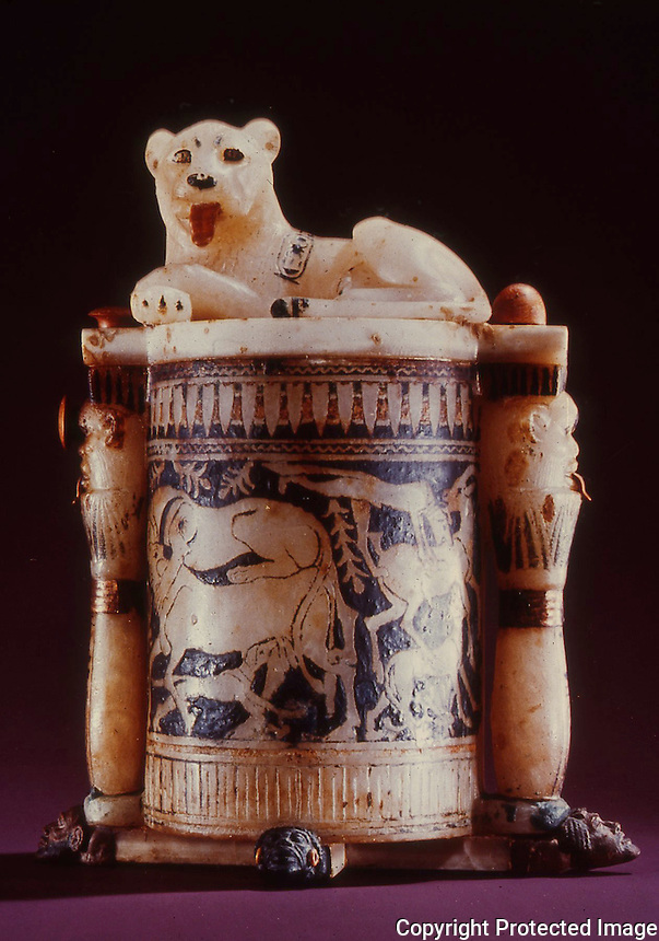 Egypt:  Lion Unguent Jar--alabaster.  Treasures of Tutankhamun, Cairo Museum.  MMA 1976.