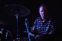 17 DEC 2014 - STOWMARKET, GBR - Dr. Feelgood's Kevin Morris on drums performing at the John Peel Centre for Creative Arts in Stowmarket, Suffolk, Great Britain (PHOTO COPYRIGHT © 2014 NIGEL FARROW, ALL RIGHTS RESERVED)