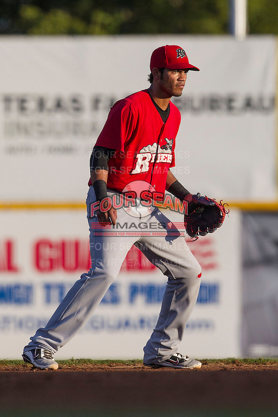 Frisco Roughriders shortstop Luis Sardinas (2) on defense in the Texas League baseball game against the San Antonio Missions on August 22, 2013 at the Nelson Wolff Stadium in San Antonio, Texas. Frisco defeated San Antonio 2-1. (Andrew Woolley/Four Seam Images)