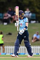 23rd February 2021, Christchurch, New Zealand;  Heather Knight (c) of England reaches 50 runs during the 1st ODI Cricket match, New Zealand versus England, Hagley Oval, Christchurch, New Zealand