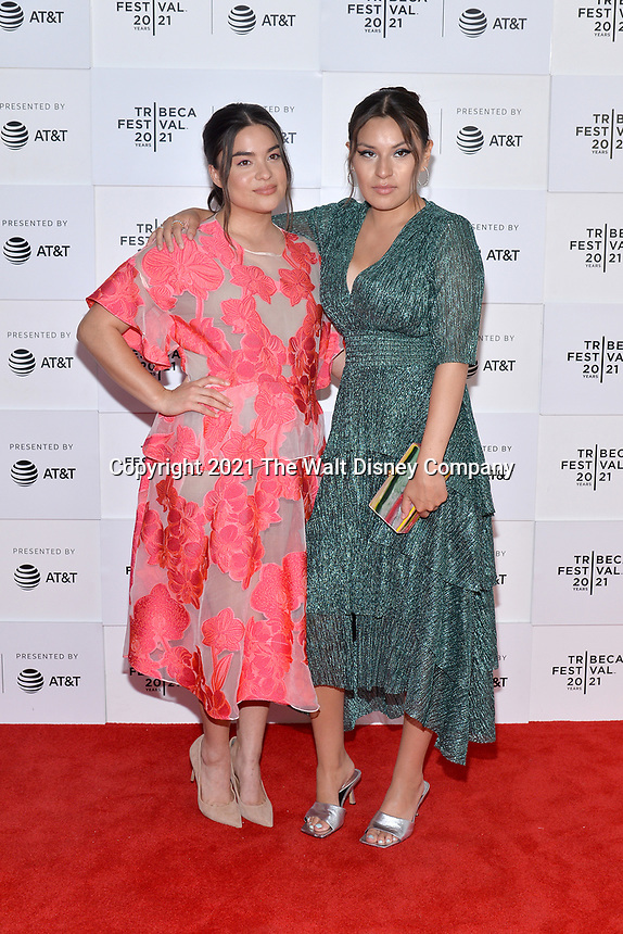 """New York CITY - JUNE 15: (l-R) Devery Jacobs and Paulina Alexis attend the Tribeca Festival screening of FX's """"Reservation Dogs"""" on June 15, 2021 in New York City. (Photo by Anthony Behar/FX/PictureGroup)"""