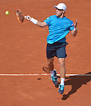 Diego Schwartzman (ARG) battles against Gael Monfils (FRA) at  Roland Garros being played at Stade Roland Garros in Paris, France on May 27, 2015