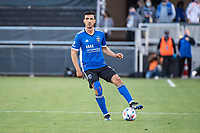 SAN JOSE, CA - MAY 15: Oswaldo Alanis #4 of the San Jose Earthquakes controls the ball during a game between San Jose Earthquakes and Portland Timbers at PayPal Park on May 15, 2021 in San Jose, California.