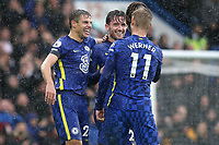 Ben Chilwell celebrates scoring Chelsea's third goal with Cesar Azpilicueta and Timo Werner during Chelsea vs Southampton, Premier League Football at Stamford Bridge on 2nd October 2021