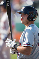 Lancaster JetHawks first baseman Roberto Ramos (22) on deck during a California League game against the San Jose Giants at San Jose Municipal Stadium on May 12, 2018 in San Jose, California. Lancaster defeated San Jose 7-6. (Zachary Lucy/Four Seam Images)