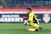 FOXBOROUGH, MA - SEPTEMBER 1: Yannik Oettl #70 of New England Revolution II makes a save during a game between FC Tucson and New England Revolution II at Gillette Stadium on September 1, 2021 in Foxborough, Massachusetts.