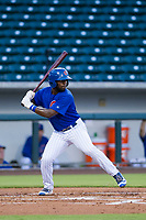 AZL Cubs shortstop Delvin Zinn (21) at bat against the AZL Giants on July 17, 2017 at Sloan Park in Mesa, Arizona. AZL Giants defeated the AZL Cubs 12-7. (Zachary Lucy/Four Seam Images)