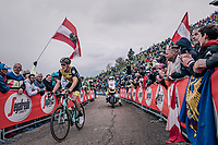 Robert Gesink (NED/LottoNL-Jumbo) up the infamous Monte Zoncolan (1735m/11%/10km)<br /> <br /> stage 14 San Vito al Tagliamento – Monte Zoncolan (186 km)<br /> 101th Giro d'Italia 2018