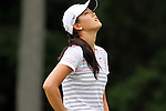 USA Michelle Wie reacts after missing her putt on the 5th hole at the LPGA Championship 2011 Sponsored By Wegmans at Locust Hill Country Club in Rochester, New York on June 24, 2011