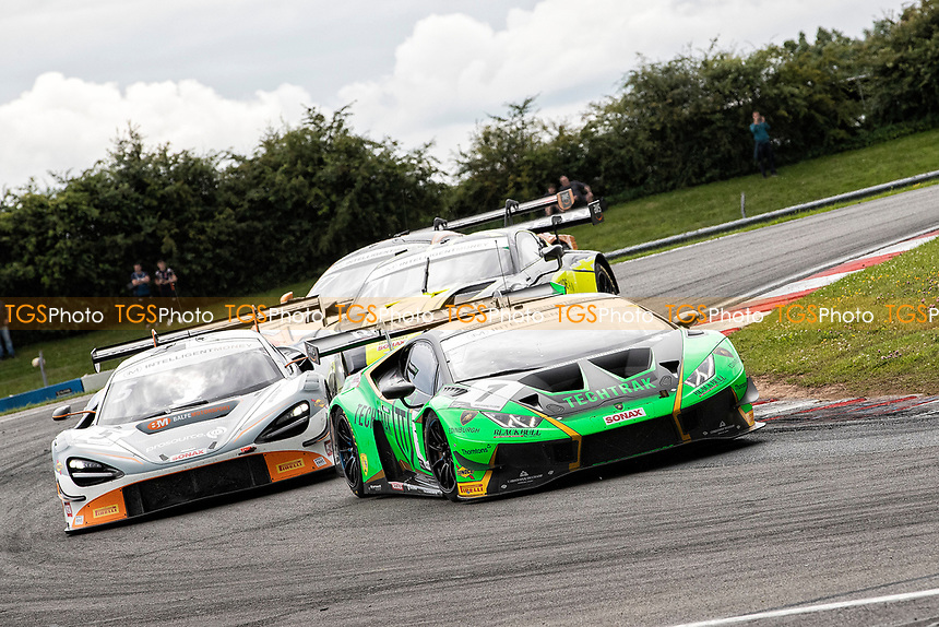 Adam Balon & Sandy Mitchell, Lamborghini Huracan GT3 EVO, Barwell Motorsport leads a group through Goddards during the British GT & F3 Championship on 11th July 2021