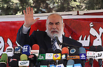 The spokesman of the Palestinian Parliament in Gaza Strip, Ahmed Bahar attends a protest against political arrests by the security forces in the West Bank, Gaza City on January 2, 2011. Photo by Mohammed Asad