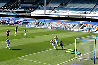 24th April 2021; The Kiyan Prince Foundation Stadium, London, England; English Football League Championship Football, Queen Park Rangers versus Norwich; Seny Dieng of Queens Park Rangers cannot keep out the shot by Xavi Quintilla of Norwich City for 0-1