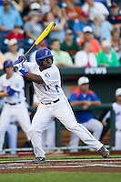Florida Gators third baseman Josh Tobias (11) at bat against the Miami Hurricanes in the NCAA College World Series on June 13, 2015 at TD Ameritrade Park in Omaha, Nebraska. Florida defeated Miami 15-3. (Andrew Woolley/Four Seam Images)