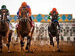 DEL MAR CA - JULY 30: Beholder #1 and Gary Stevens  lead the field for the Clement L Hirsch Stakes  past the grandstand at Del Mar on July 30, 2016 in Del Mar, California. (Photo by Alex Evers/Eclipse Sportswire/Getty Images)