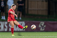 NEWTON, MA - AUGUST 29: McKenna Kennedy #26 of Boston University passes the ball during a game between Boston University and Boston College at Newton Campus Field on August 29, 2019 in Newton, Massachusetts.