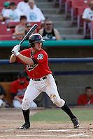 Pat Kivlehan #17 of the High Desert Mavericks bats against the Modesto Nuts at Stater Bros. Stadium on June 29, 2013 in Adelanto, California. Modesto defeated High Desert, 7-2. (Larry Goren/Four Seam Images)