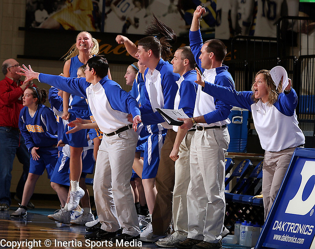 BROOKINGS, SD - March 12, 2009 : The Aberdeen Central Bench jumps in excitement after the game winning three point shot against Sioux Falls Washington in their State Girls AA Tournament game at Frost Arena in Brookings. (Photo By Stephen Brua/ Inertia)