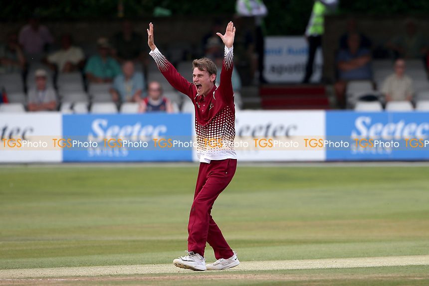 Harrison Craig of Cambridgeshire claims the wicket of Paul Walter during Essex Eagles vs Cambridgeshire CCC, Domestic One-Day Cricket Match at The Cloudfm County Ground on 20th July 2021