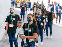 ORLANDO, FL - FEBRUARY 21: Alex Morgan #13 of the USWNT walks into the stadium before a game between Brazil and USWNT at Exploria Stadium on February 21, 2021 in Orlando, Florida.