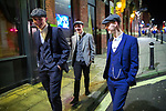 © Joel Goodman - 07973 332324 . 26/12/2017. Wigan, UK. Peaky Blinders . Revellers in Wigan enjoy Boxing Day drinks and clubbing in Wigan Wallgate . In recent years a tradition has been established in which people go out wearing fancy-dress costumes on Boxing Day night . Photo credit : Joel Goodman