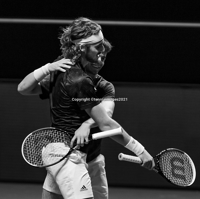 Rotterdam, The Netherlands, 3 march  2021, ABNAMRO World Tennis Tournament, Ahoy, First round doubles: Petros Tsitsipas (GRE) and his brother Stefanos Tsitsipas (GRE)<br /> Photo: www.tennisimages.com/