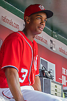 28 May 2016: Washington Nationals outfielder Michael Taylor sits in the dugout prior to a game against the St. Louis Cardinals at Nationals Park in Washington, DC. The Cardinals defeated the Nationals 9-4 to take a 2-games to 1 lead in their 4-game series. Mandatory Credit: Ed Wolfstein Photo *** RAW (ARW) Image File Available ***