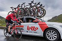 Brent Van Moer (BEL/Lotto Soudal) getting some dry gloves form the teamcar up the Cormet de Roselend.<br /> <br /> Stage 9 from Cluses to Tignes (144.9km)<br /> 108th Tour de France 2021 (2.UWT)<br /> <br /> ©kramon