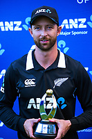 Player of the series Devon Conway after the third One Day International cricket match between the New Zealand Black Caps and Bangladesh at the Basin reserve in Wellington, New Zealand on Friday, 26 March 2021. Photo: Dave Lintott / lintottphoto.co.nz