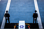 Former president Shimon Peres's casket placed outside the Knesset Israelis parliament in Jerusalem so that the public may pay its last respects on Thursday Sept 29 2016. Peres 93 passed away Tuesday, he was the last member of Israel's founding generation, and was feted internationally as a visionary man of peace. Photo by Eyal Warshavsky