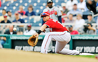 24 September 2011: Washington Nationals first baseman Chris Marrero in action against the Atlanta Braves at Nationals Park in Washington, DC. The Nationals defeated the Braves 4-1 to even up their 3-game series. Mandatory Credit: Ed Wolfstein Photo