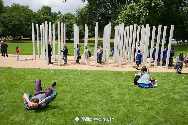 The 7/7 Monument in Hyde Park.  The memorial to the 52 people killed in the London bombings of 7 July 2005 was designed by architects Kevin Carmody and Andy Groarke.