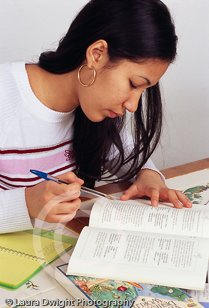 Teenage girl 15 years old  chores: cooking: planning meal reading recipe shopping list