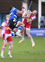 6th February 2021; Recreation Ground, Bath, Somerset, England; English Premiership Rugby, Bath versus Harlequins; Mike Brown of Harlequins competes in the air with Joe Cokanasiga of Bath