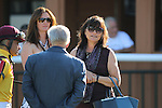 September 19, 2015. Connections of Cotillion contender Tara's Tango, including jockey Mike Smith, trainer Jerry Hollendorfer (back to camera) and Barbara Banke of Stonestreet Stables gather in the paddock before the race at  Parx Racing in Bensalem, PA. (Joan Fairman Kanes/ESW/CSM)