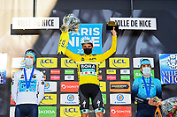 14th March 2021, Levens, France;  SCHACHMANN Maximilian (GER) of BORA - hansgrohe with VLASOV Aleksandr (RUS) of Astana - Premier Tech and IZAGIRRE Ion (ESP) of Astana - Premier Tech on podium after stage 8 of the 79th edition of the 2021 Paris - Nice cycling race, a stage of 92,7 kms between Plan-du-Var and Levens on March 14, 2021 in Levens, France