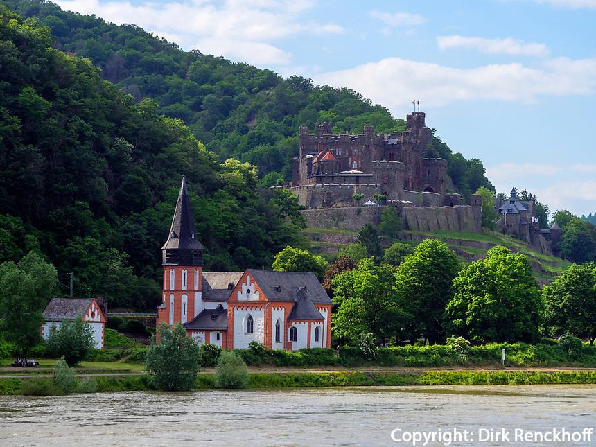 Burg Reichenstein am Rhein, Rheinland-Pfalz, Deutschland, Europa, UNESCO Weltkulturerbe<br /> Castle Reichenstein at river Rhine, Rhineland-Palatinate, Germany, Europe