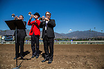 """ARCADIA, CA - OCTOBER 01: The buglers play the """"call to the post""""  at Santa Anita Park on October 01, 2016 in Arcadia, California. (Photo by Alex Evers/Eclipse Sportswire/Getty Images)"""