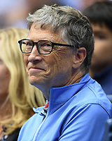 FLUSHING NY- SEPTEMBER 08: ***NO NY DAILIES*** Bill Gates seen watching Kevin Anderson Vs Pablo Carreno Busta during the mens semi finals on Arthur Ashe Stadium during the US Open at the USTA Billie Jean King National Tennis Center on September 8, 2017 in Flushing Queens. Credit: mpi04/MediaPunch