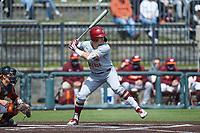 Luke Gold (1) of the Boston College Eagles at bat against the Virginia Tech Hokies at English Field on April 3, 2021 in Blacksburg, Virginia. (Brian Westerholt/Four Seam Images)