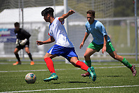 Action from the 2019 National Age Group Tournament Under-16 Boys football match between Auckland and Central at Memorial Park in Petone, Wellington, New Zealand on Thursday, 12 December 2019. Photo: Dave Lintott / lintottphoto.co.nz