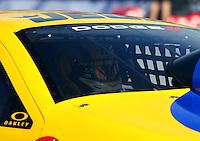 Nov 7, 2013; Pomona, CA, USA; NHRA pro stock driver Jeg Coughlin Jr during qualifying for the Auto Club Finals at Auto Club Raceway at Pomona. Mandatory Credit: Mark J. Rebilas-