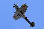 Cleethorpes 2015 flypast <br /> Spitfire Mk XVI TE311, from the RAF Battle of Britain Memorial Flight fleet, is a low-back/bubble-canopy Spitfire with 'clipped' wingtips. The classic elliptical wingtips were replaced by shorter, squared-off fairings to substantially enhance the roll rate, closing the gap between the Spitfire and the Focke-Wulf Fw 190.<br /> <br /> August 2015<br />  Image © Paul David Drabble <br />  www.pauldaviddrabble.co.uk