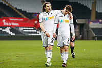 Sunday 18 March 2018<br /> Pictured:  Aaron Lewis and Daniel James of Swansea City <br /> Re: Swansea City v Manchester United U23s in the Premier League 2 at The Liberty Stadium on March 18, 2018 in Swansea, Wales.