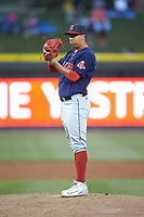 Salem Red Sox starting pitcher Bryan Mata (34) looks to his catcher for the sign against the Winston-Salem Dash at BB&T Ballpark on April 20, 2018 in Winston-Salem, North Carolina.  The Red Sox defeated the Dash 10-3.  (Brian Westerholt/Four Seam Images)