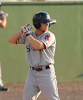 Infielder Sean Coyle (3) of the Salem Red Sox, a Boston Red Sox affiliate, in a game against the Potomac Nationals on June 8, 2012, at Pfitzner Stadium in Woodbridge, Virginia. Potomac won the first game of a doubleheader, 5-4. Coyle is the No. 14 Boston prospect, according to Baseball America. (Tom Priddy/Four Seam Images)