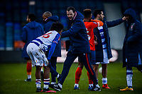 9th January 2021; Kenilworth Road, Luton, Bedfordshire, England; English FA Cup Football, Luton Town versus Reading; Reading first team coach John O'Shea consoles Jayden Onen of Reading at full time.