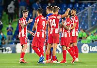 21st September 2021; Estadio Coliseum Alfonso Perez, Getafe,  Madrid, Spain; Men's La Liga, Getafe CF versus Atletico de Madrid; Atletico players celebrate victory at the end of the match.