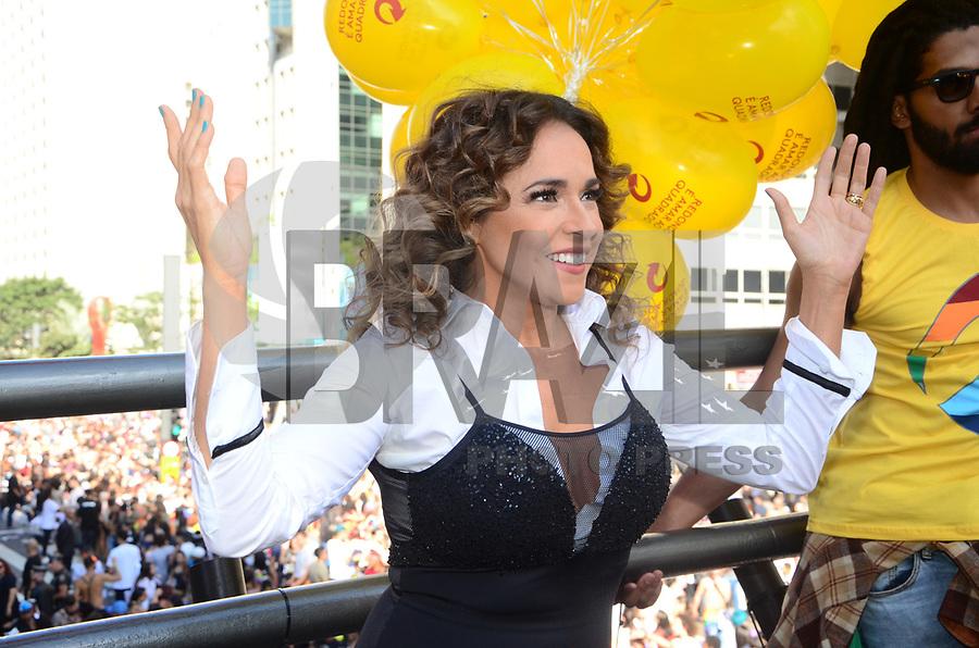 SÃO PAULO,SP, 18.06.2017 - PARADA-SP -Daniela Mercury faz show no trio da Skol para publico da Parada do Orgulho LGBT na Avenida Paulista deste domingo, regiao central de Sao Paulo. (Foto: Eduardo Martins / Brazil Photo Press)